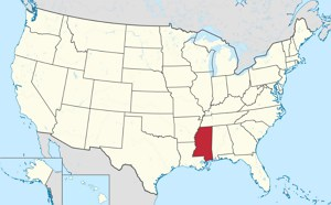 mississippi highlighted on us map